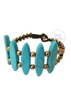 Hot Lava Bracelet Long Stone Small - Turquoise/Gold