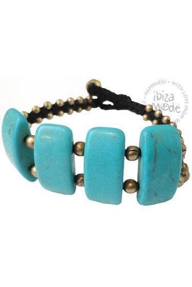 Bracelet Long Stone Big - Turquoise/Gold