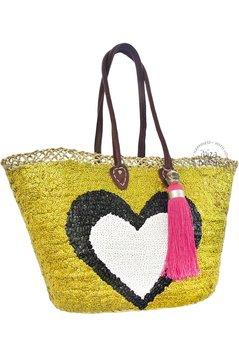 Ibiza Beachbag Fantastisches Herz - Gold / Schwarz / Weiß