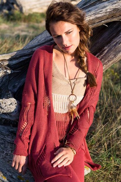 Beatrice San Francisco Cardigan Shiva - Indian Red