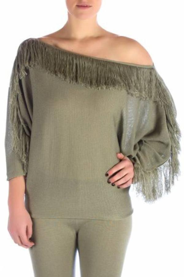 Beatrice San Francisco Pull Batwing Fringes - Moss Green