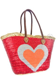 Ibiza Beachbag Fancy Heart - Red/Silver/Neon Orange