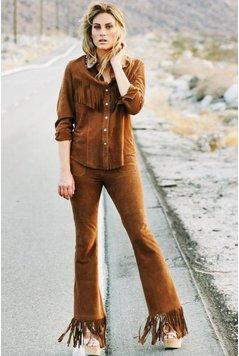 Miss June Suede Fringe Pants Parker Fringes - Brown