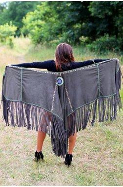 Melissimo Leather Poncho Lottie - Dark Grey