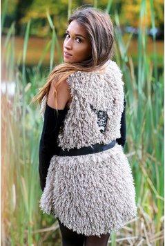 Melissimo Long Gilet Hairy Fur Bull - Light Brown