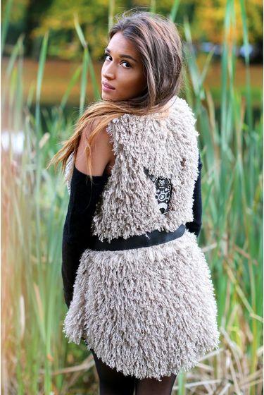 Long Fur Gilet Hairy Bull - Light Brown
