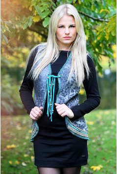 Melissimo Gilet Leopard - Grey/Turquoise
