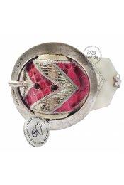 Peacebird Aztec Armband Große Friedensvogel - Creme / Pink