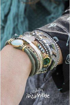 Hipanema Armband Cypress - Armee / Silber