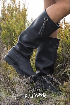 Cha Ibiza Classic Baggy Tall Leather Boots - Black