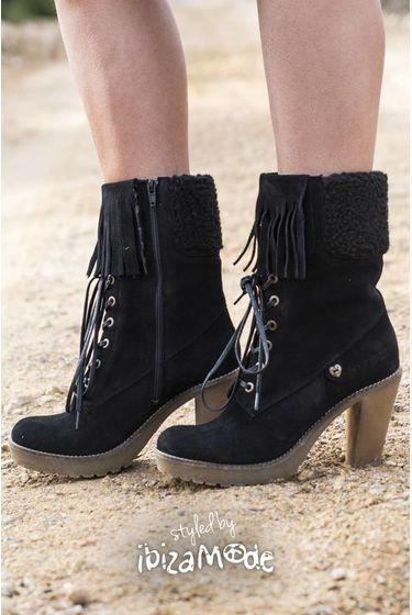 Suede High Boots Fringes - Black