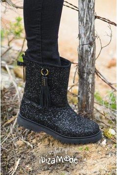 Cha Ibiza Classic High Glitter Boots - Black