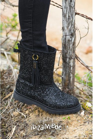 Classic High Glitter Boots - Black