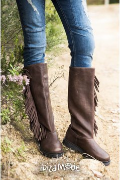 Cha Ibiza Fringes Baggy Tall Leather Boots - Brown