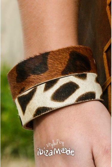 Savanah Leder Armband - Print Medium / Large