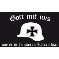 Vlag Duitse Rijk Gott mit uns Stahlhelm vlag