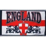 Vlag Engeland met 2 leeuwen voetbal