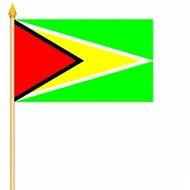 Stok- / zwaai-vlag Guyana  hand stok zwaai  (6 stuks)