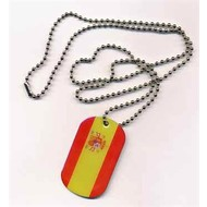 Dog Tag 30x50 mm Dog Tag (dogtags in stainless steel) with 70 cm long, adjusTable flag ball chain in silver, surface enamelled, high quality and durability