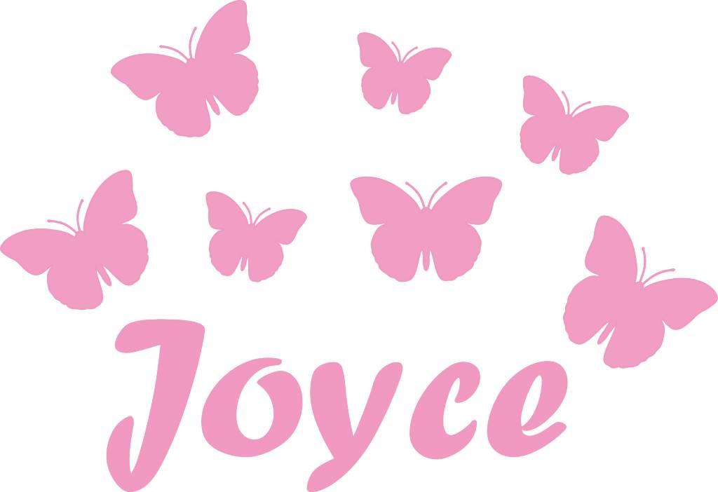 Muursticker diverse vlinders met naam