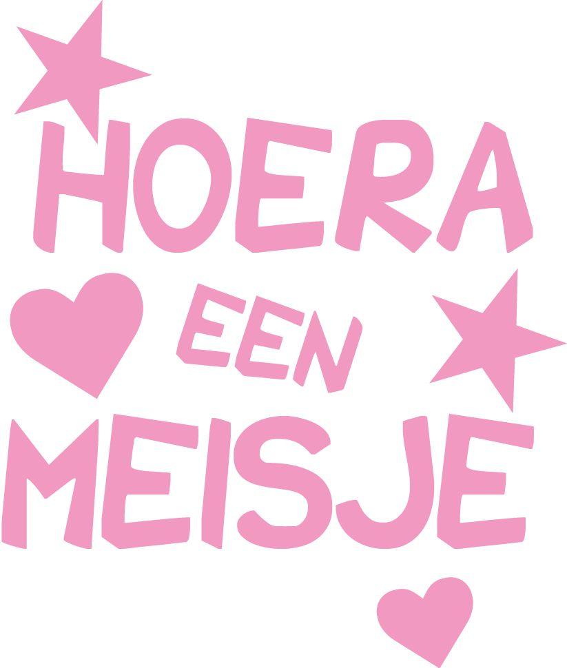 Raam sticker Hoera een meisje - Muursticker4sale.nl