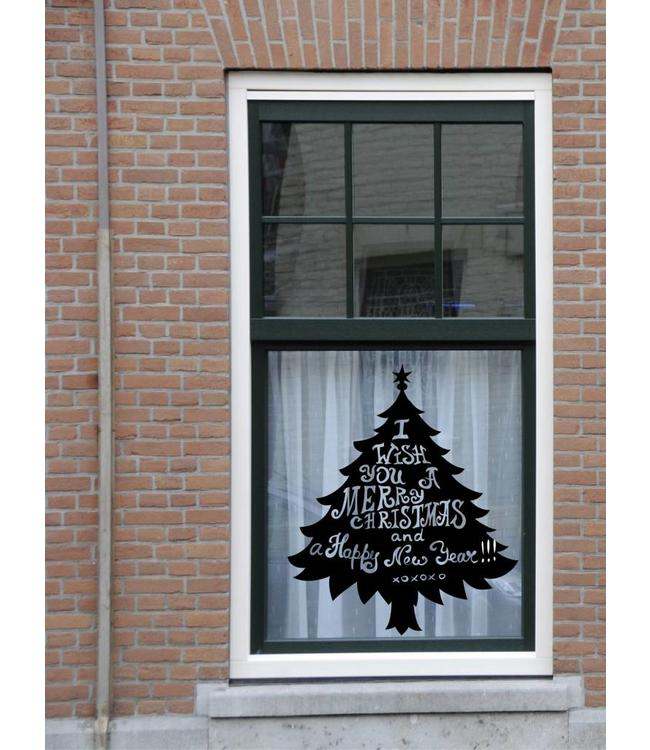 Kerstboom met tekst sticker