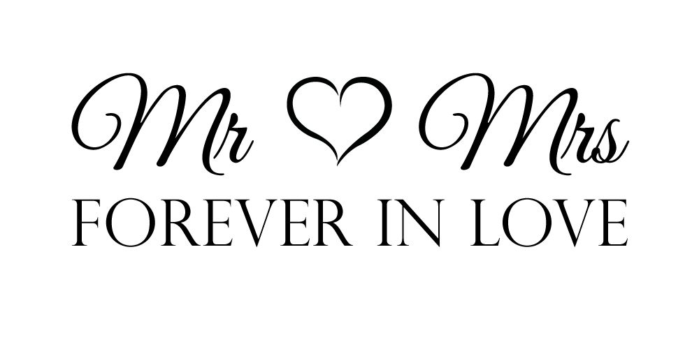 muursticker mr mrs forever in love muursticker4sale. Black Bedroom Furniture Sets. Home Design Ideas