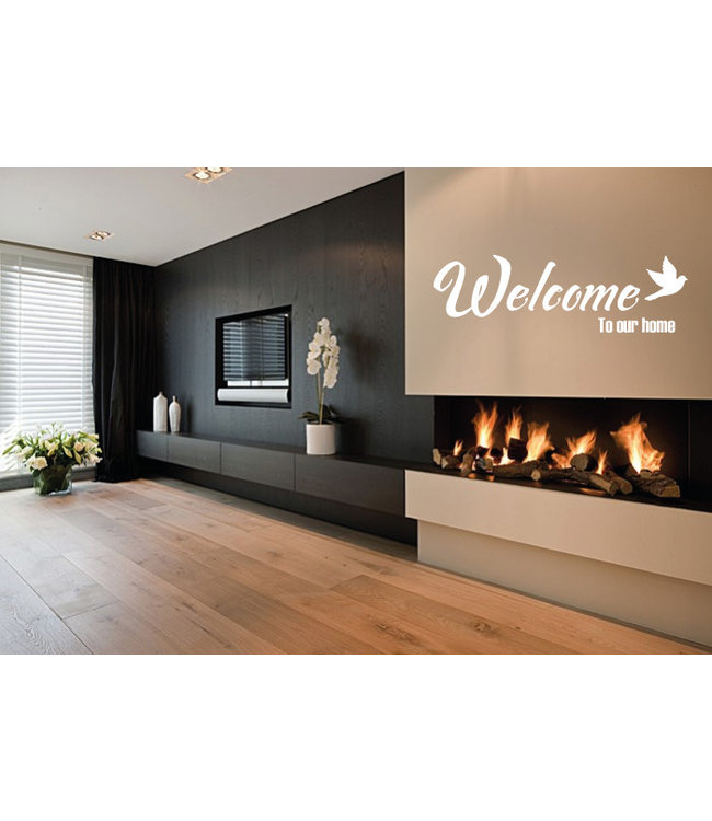 Muursticker Welcome to our home met vogel