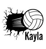 """Muursticker """"Volleybal uit muur met naam"""""""