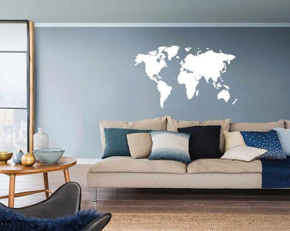 Woonkamer Met Wereldkaart : Muursticker wereldkaart muursticker sale