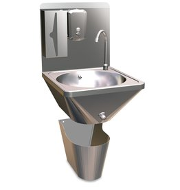 Wash basin with trash bin - wall-mounted with button