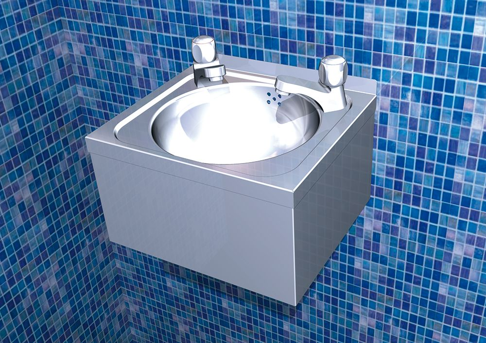 Sink Tap Modell : Double tap hand wash basin xs model inox rvs for food industry