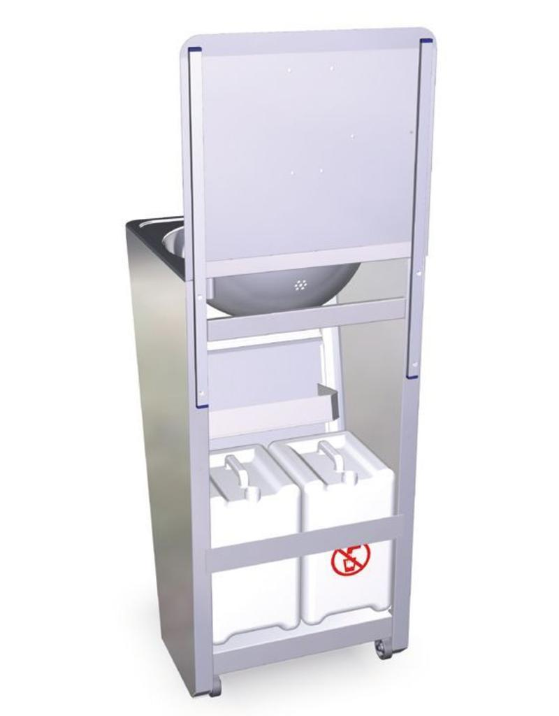 Mobile hand wash basin with integrated tanks  INOX RVS FOR FOOD INDUSTRY # Wasbak Handwas_073641