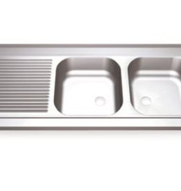 Sink Unit with two sinks and left drainboard