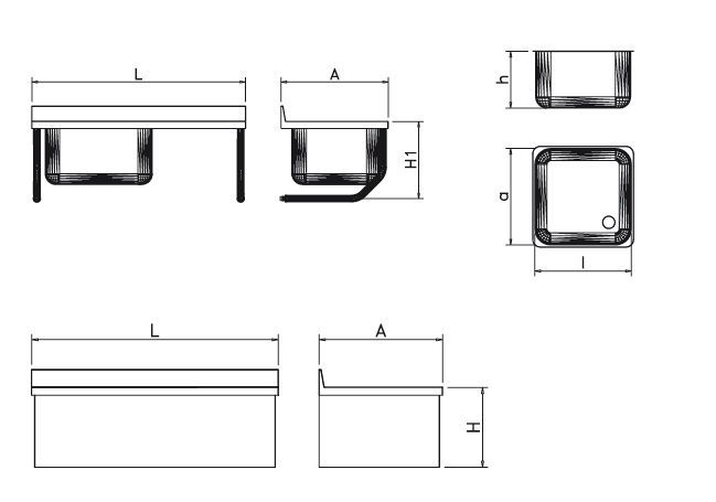 2 Sinks Wall mounting with right drainer with finishing