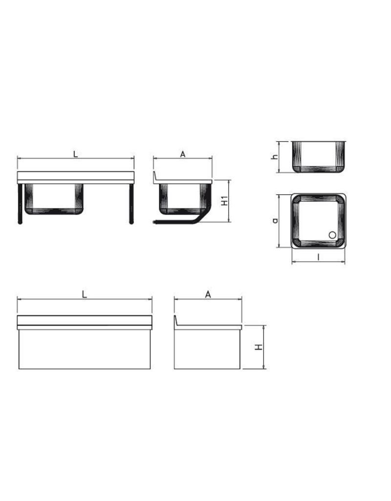 2 Spoelbakken Wandmontage met rechtse afdruipplaat met afwerking