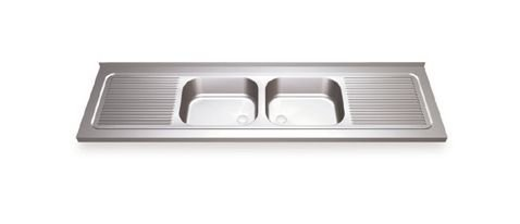 2 Sinks Wall mounting with two drain boards with finishing