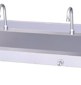 Knee-operated hot and cold water wall-mounted collective washbasin