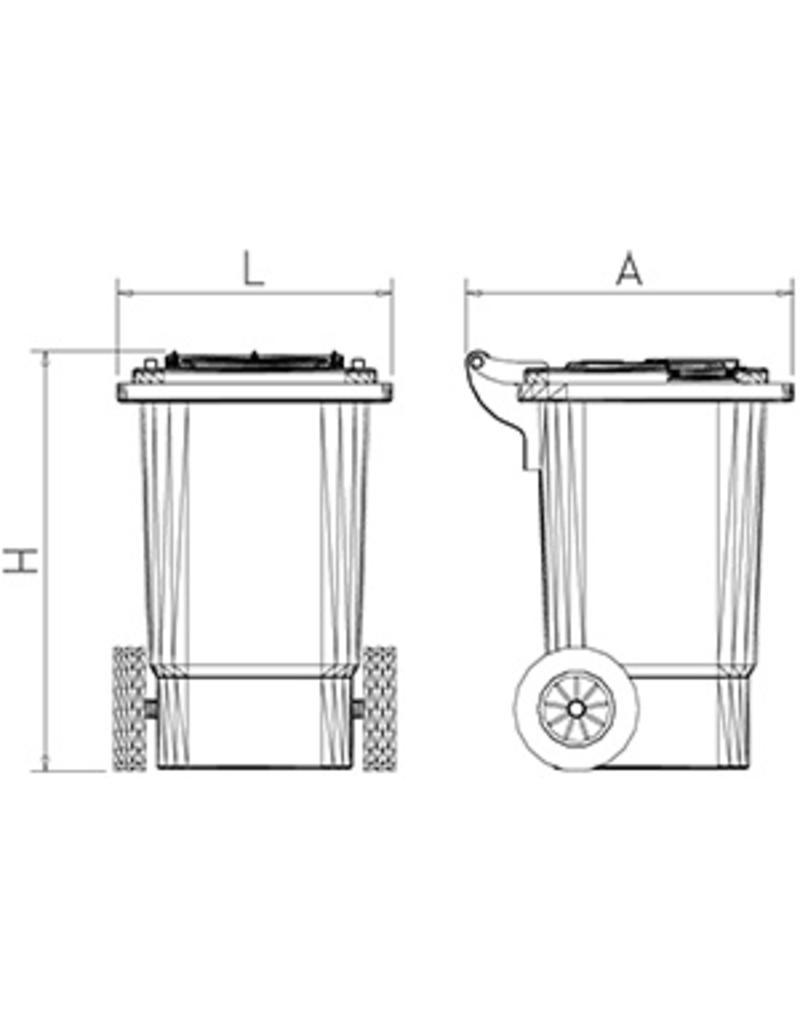 Container voor messentransport met wielen