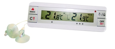 Digital fridge and freezer thermometer with two probes