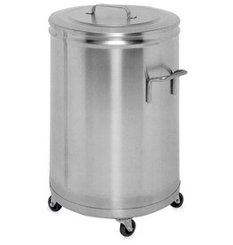 Stainless steel container with a lid and wheels