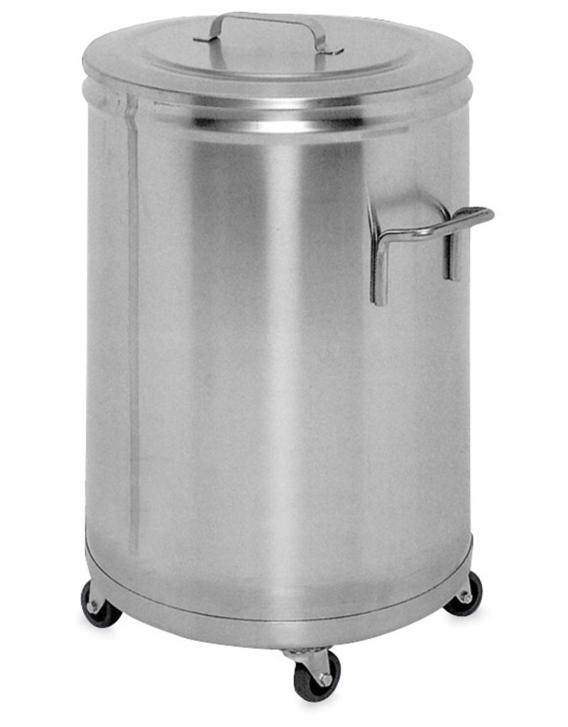 Stainless Steel Container With A Lid And Wheels Inox Rvs