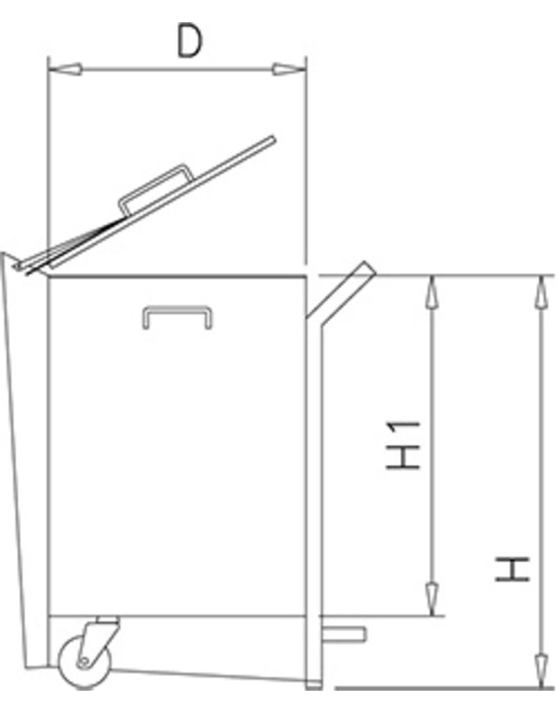 Afvalbak in roestvrij staal met pedaalbediening en wieltjes