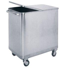 Vierkante vuilnisbak in RVS met deksel en wieltjes