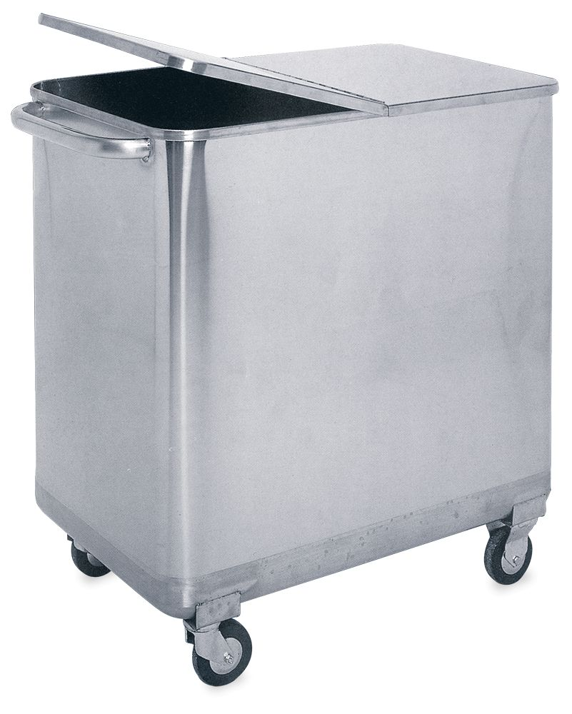 Square Stainless Steel Trash Can With Lid And Wheels