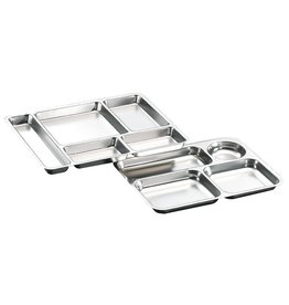 Menu tray in stainless steel