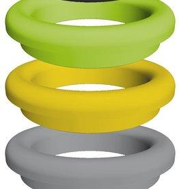 Gekleurde ring in kunststof voor afvaldoorvoer