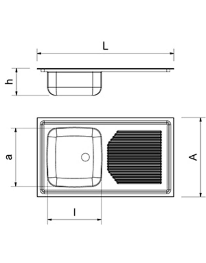 Built-in sink, drainer right