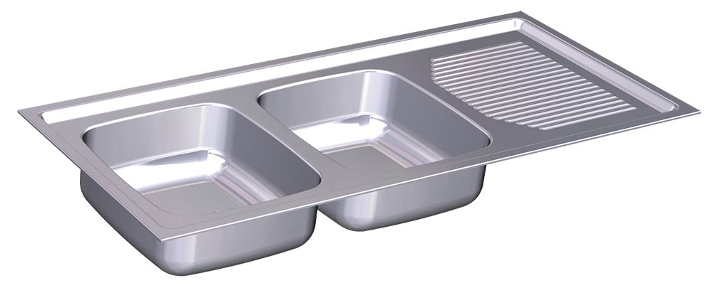 Built-in double sink, drainer right