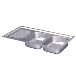 Built-in double sink, drainer left